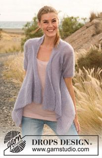 """Knitted DROPS jacket with short sleeves worked sideways in """"Vivaldi"""". Size: S - XXXL ~ DROPS Design"""