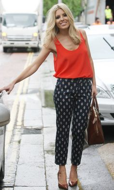 8. A cute pair of pants is perfect for chillier days, such as Mollie King's.