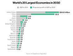 World's 20 Largest Economies in 2030,  according to the U.S. Department of Agriculture's latest macroeconomic projections, 15 years from now, the United States economy will be less dominant due to several emerging markets. #businessnews #worldnews #news #business #dollars #worldeconomy #economy #uae #dubai #mydubai #gccnews #gccbusinesscouncil #gulfnews #middleeast #socialmedia #projections