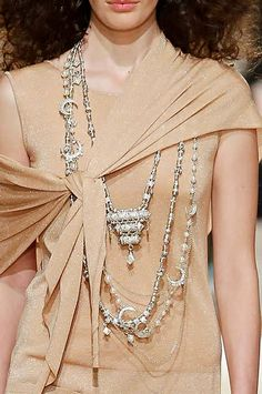 Stacked Tribal Necklaces | Chanel Cruise 2015 #ethnic #necklace Chanel Dubai, Chanel 2015, Chanel Resort, Chanel Cruise, African Necklace, Tribal Necklace, Jewelry 2014, Jewellery, Jewelry Ideas