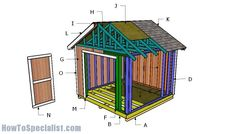 10x10 Shed Plans - DIY Step by Step | HowToSpecialist - How to Build, Step by Step DIY Plans 10x10 Shed Plans, Wood Shed Plans, Shed Building Plans, Garage Plans, Building Ideas, Diy Storage Shed Plans, Storage Sheds, Tool Storage, Build Your Own Shed