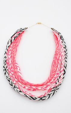 Hand Printed Fabric Necklace in Pink White and Black from Thief and Bandit