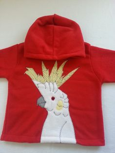 Cockatoo Hoodie handmade by Alfie and Alice in beautiful Cornwall. Colourful and practical children's clothing. Cockatoo, Red Hoodie, Cornwall, Feather, Alice, Birds, Unisex, Hoodies, Children