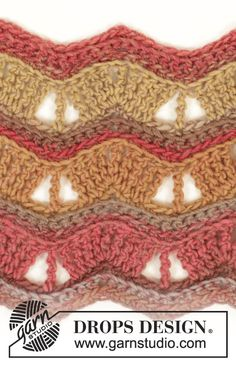 "Autumn Waves - Crochet DROPS neck warmer with lace pattern in ""Big Delight"". - Free pattern by DROPS Design"