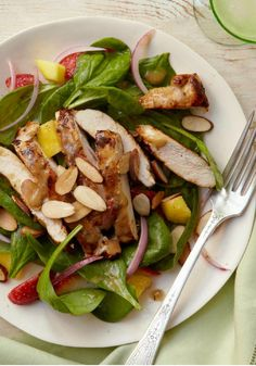 Mango-Balsamic Spinach Salad with Chicken – Mango, spinach, strawberries, almonds—this Healthy Living salad recipe is a super-sampler of good things. Which makes eating right all the more refreshing.