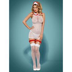 """<ul>  <li>Costum asistentă medicală seducătoare picant</li>  <li>Rochitade făcută din plasă transparenta decorată cu motive fine</li>  <li>Bantită sexy de asistentă medicală</li>  <li>Bretele roșii detașabile - un plus tentant!</li>  <li>Ciorapi moi și elastici.</li>  <li>Tanga pentrupotrivirea completă</li>  <li>Materialplăcut la atingere, tesatura stretch (90% poliamidă, 10% elastan)</li> </ul> Marime unica :S/M  Producator: Obsessive.<img class=""""aligncenter size-full..."""