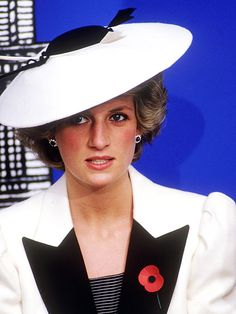 FASHION PLATEDiana wore this black-and-white Frederick Fox hat to the National Gallery of Art in Washington, D.C., on Nov. 10, 1985.