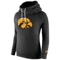 Iowa Hawkeyes Nike Womens Rally Funnel Hood-Rewind Sweatshirt – Black