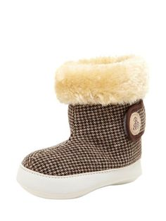 Herringbone Faux Fur lined Booties by Right Bank Babies at Gilt