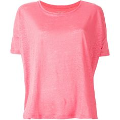 Majestic Filatures plain T-shirt ($96) ❤ liked on Polyvore featuring tops, t-shirts, pink, pink top, linen t shirt, pink t shirt, linen tee and majestic filatures