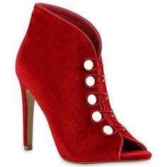 20b3cec2211a52 Hübsch zum Märchkostüm à la Rotkäppchen oder Schneewittchen  rote High  Heels von stiefelparadies.de