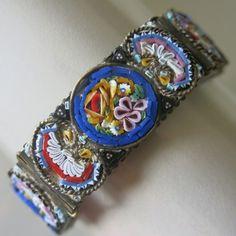 Vintage 1930's 40's Italian Micro Mosaic Glass Flower Italy Bracelet | eBay
