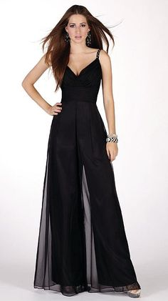 DRESSY JUMPSUITS   Claudine for Alyce Prom Unique Silky Chiffon Jumpsuit 2141 image