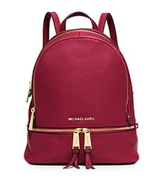 Rhea Small Leather Backpack by Michael Kors