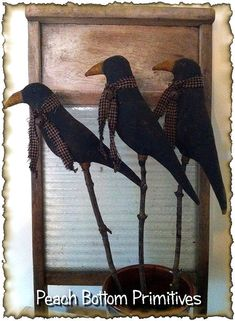 Primitive Sewing crafts - ePattern~Primitive Crows on Sticks, Crock Fillers, Pokes Sewing Pattern Primitive Kunst, Primitive Homes, Primitive Crafts, Primitive Christmas, Country Primitive, Primitive Snowmen, Country Christmas, Christmas Christmas, Primitive Decorations