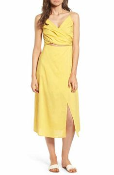ec66ef6f7d Cutout Midi Dress Yellow Bridesmaid Dresses, Beach Dresses, Summer Dresses,  Skirt Set,