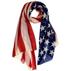 Sheer Star And Stripes American Flag Lightweight Scarf ($15) ❤ liked on Polyvore featuring accessories, scarves, lightweight, sheer shawl, striped scarves, sheer scarves, american flag shawl and oversized scarves