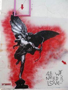Shot Through The Heart. Hermès nous décoche un message ! / Street Art. / Bagnolet, France. / By Jef Aerosol.