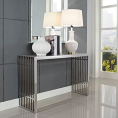 Stainless Steel Modern Gridiron Console Table | Overstock.com Shopping - Great Deals on Modway Coffee, Sofa & End Tables