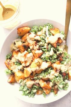 #How #to #cook #kale #healthy #delicious TheseSpicy Potato Kale Bowls with Mustard Tahini Dressing are the perfect Fall meal Crispy potatoes red onion marinated kale and a delicious creamy dressing Simple and healthy  brp classfirstletterThe Most current web page sharing about creamypHere we offer the highest attractively impression about perfect that you are looking forBy examining the dressing part of the icon you can get the massage we want to offer You can see that this Pictures is… Healthy Family Meals, Healthy Pasta Recipes, Healthy Pastas, Spicy Recipes, Clean Eating Recipes, Lunch Recipes, Healthy Dinner Recipes, Salad Recipes, Breakfast Recipes