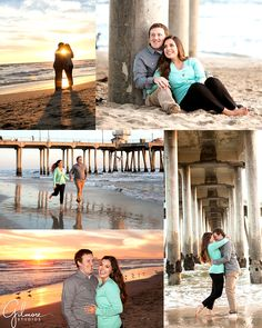 Huntington Beach Engagement Photo, Down Town, Main St, Sunset, Orange County,Engagement Photography, Gilmore Studios, Kiss, Love, Engagement, Couple, Beach, Sunset, Sand, Pier, Running, Silhouette