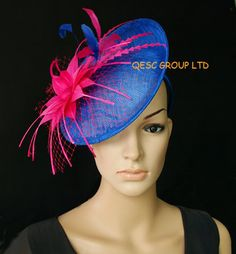 39fc20db17dea Cobalt royal blue hot pink sinamay disc fascinator with by QESC Navy  Fascinator