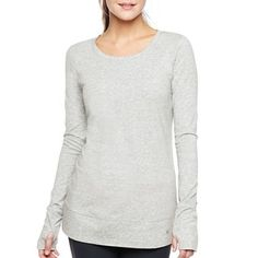 Xersion™ Long-Sleeve Cotton Tunic - jcpenney ~ not usually a fan of thumb holes in shirts but could be useful in winter to keep your wrists covered!