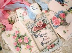 Vintage Birthday Gift Tags No 106 Happy by theporcelainrose