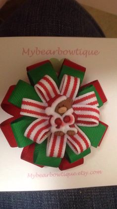 Christmas hair bow baby hairbow christmas bow by mybearbowtique