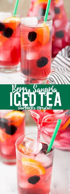 This Berry Sangria Iced Tea is a take on the Starbucks drink! Herbal iced tea… This Berry Sangria Iced Tea is a take on the Starbucks drink. Herbal iced tea mixed with a berry orange syrup, apple juice and blackberries. So refreshing for a hot summer day. Beste Cocktails, Fun Cocktails, Party Drinks, Summer Drinks, Cocktail Drinks, Fun Drinks, Beverages, Refreshing Drinks, Iced Tea Recipes