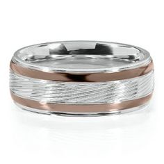 White Chocolate Stainless Steel 8mm Textured Men S Band All Engagement Wedding