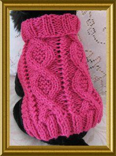 Dog sweater Knitting pattern Aran twists called Entwined Paths Downloadable PDF
