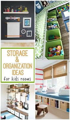 Check out these 10+ great ideas for storage and organization in kids rooms to help keep the clutter away!