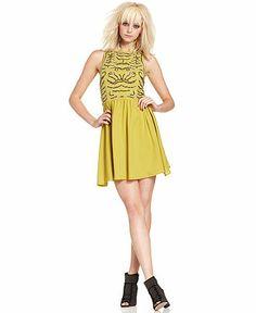 Bar III Dress, Sleeveless High-Neck Sequined A-Line - Juniors Dresses - Macy's