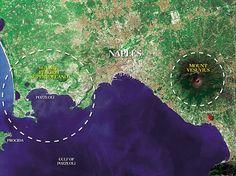 Map of Naples, Italy with Mount Vesuvius and Campi Flegrei identified.