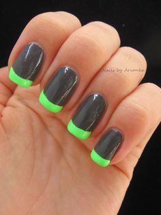Green and black french nails!!!!