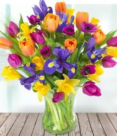 Vibrant Iris, Sunny Daffodils, Lush Anemones And Fresh Tulips Mingle To Create A Bouquet That Is Sure To Put A Spring In Your Step. Flowers Uk, Bunch Of Flowers, Flowers Online, Beautiful Flowers, Wedding Flowers, Daffodil Bouquet, Spring Flower Bouquet, Spring Flowers, Beautiful Flower Arrangements