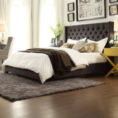 """Features:  -Crawley collection.  -Designed to be used with a standard king bed.  Finish: -Espresso.  Frame Material: -Wood. Dimensions:  -Queen size: 66"""" (Width between the wings). Size King -  Overal"""