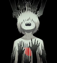 Honest Yet Powerful Illustrations By Japanese Artist That Will Make You Think Arte Horror, Horror Art, Anime Triste, Dark Anime, Dark Art Illustrations, Illustration Art, Anime Negra, Vent Art, Sad Drawings