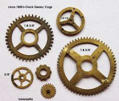 6 Antique Brass Clock Gears - Cogs - Steampunk or Altered Art
