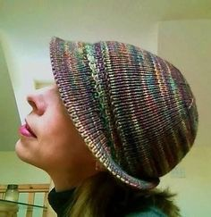 Brim Hat by madanaro, Inspired by Brimming by Lori Puthoff. malabrigo Rios in Arco Iris colorway. Find it here: http://www.ravelry.com/projects/madanaro/brimming FREE Pattern here: http://www.ravelry.com/patterns/library/brimming