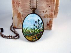 Rural meadow necklace Landscape pendant by EmbroideredJewerly