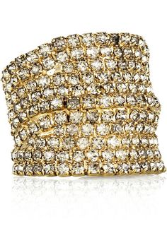 DANNIJO's Swarovski crystal-encrusted gold-plated ring #rings