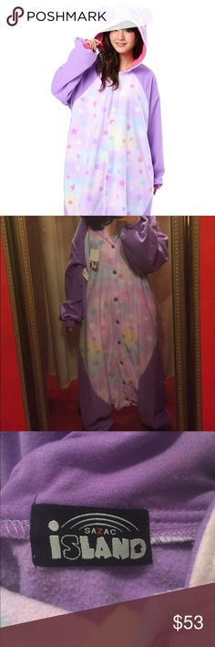 ✨ Pastel Panda 🐼 Kigu ✨ This sweet purple kigurumi is super comfy and kawaii! I'm 4'10 and it fits me pretty big but I still rocked it. The only thing is that the butt is super low if you're short like me. I bought it from Trendy Wendy in Seattle and only ended up wearing it to a couple of raves. The sleeves aren't pink at the end like the first stock photo but purple like the stock photo with the second model shows   Pet friendly 🐶 Smoke free home Sazac Island Other