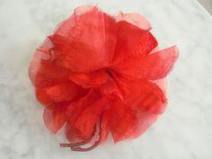 1950s red silk organza flower - shabby charming