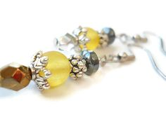Hematite Earrings Seaglass Earrings Yellow Glass by chicagolandia, $17.00