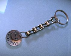 Personalized Bike Chain Keychain with hand stamped discs