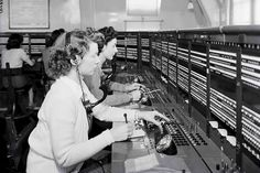 Telephone operators at Potters Bar Telephone Exchange. 1947.