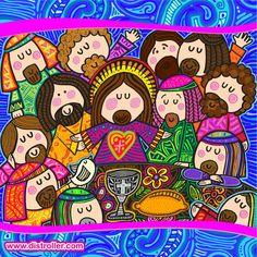 "The Last Supper - Plis. Por Distroller, marca creada por Amparo ""Amparin"" Serrano. Christian Images, Christian Art, Easter Vigil, Maundy Thursday, Religion Catolica, Last Supper, Bible Stories, Handmade Gift Tags, Religious Art"