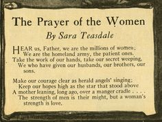The Prayer of the Woman by Sara Teasdale.